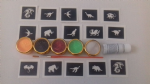 Dragon & Dinosaur mini themed glitter tattoo set including 30 stencils + 5 glitter colours + glue T-Rex